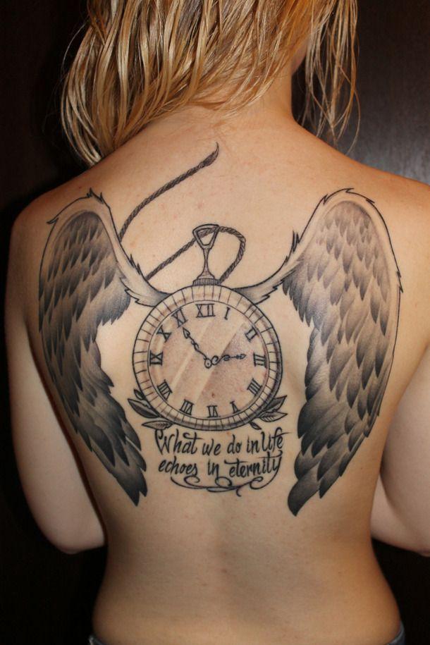 clock quote tattoo wings - image #269174 on Favim.com