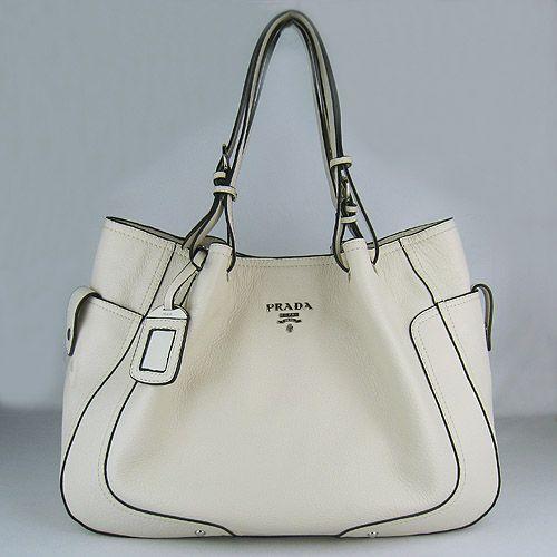 Prada Handbags | prada handbag Prada Soft Calf Shoulder Bags Cream 1811 patent leather ...