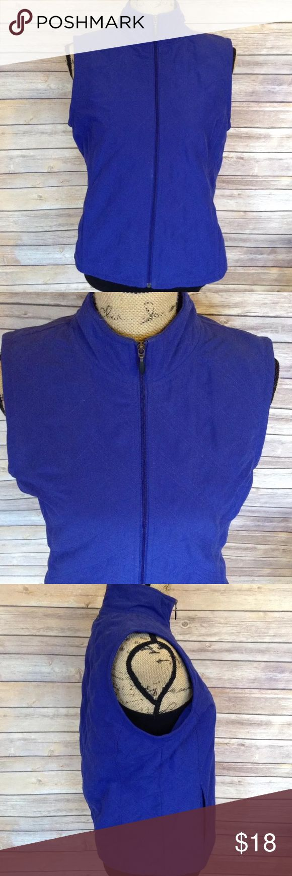"Columbia Sportswear medium blue zip up vest Pre-owned Columbia Sportswear Company women's size medium blue zip up vest. Very good used condition. No rips holes or stains. Two front pockets. 100% polyester.   Measurements:  Armpit to armpit- 18.5""  Length- 22.5""   I ship fast! Pay before 4:30pm Monday thru Friday and I will ship the same day!  Thank you for looking!  Check out my other items! Columbia Jackets & Coats Vests"