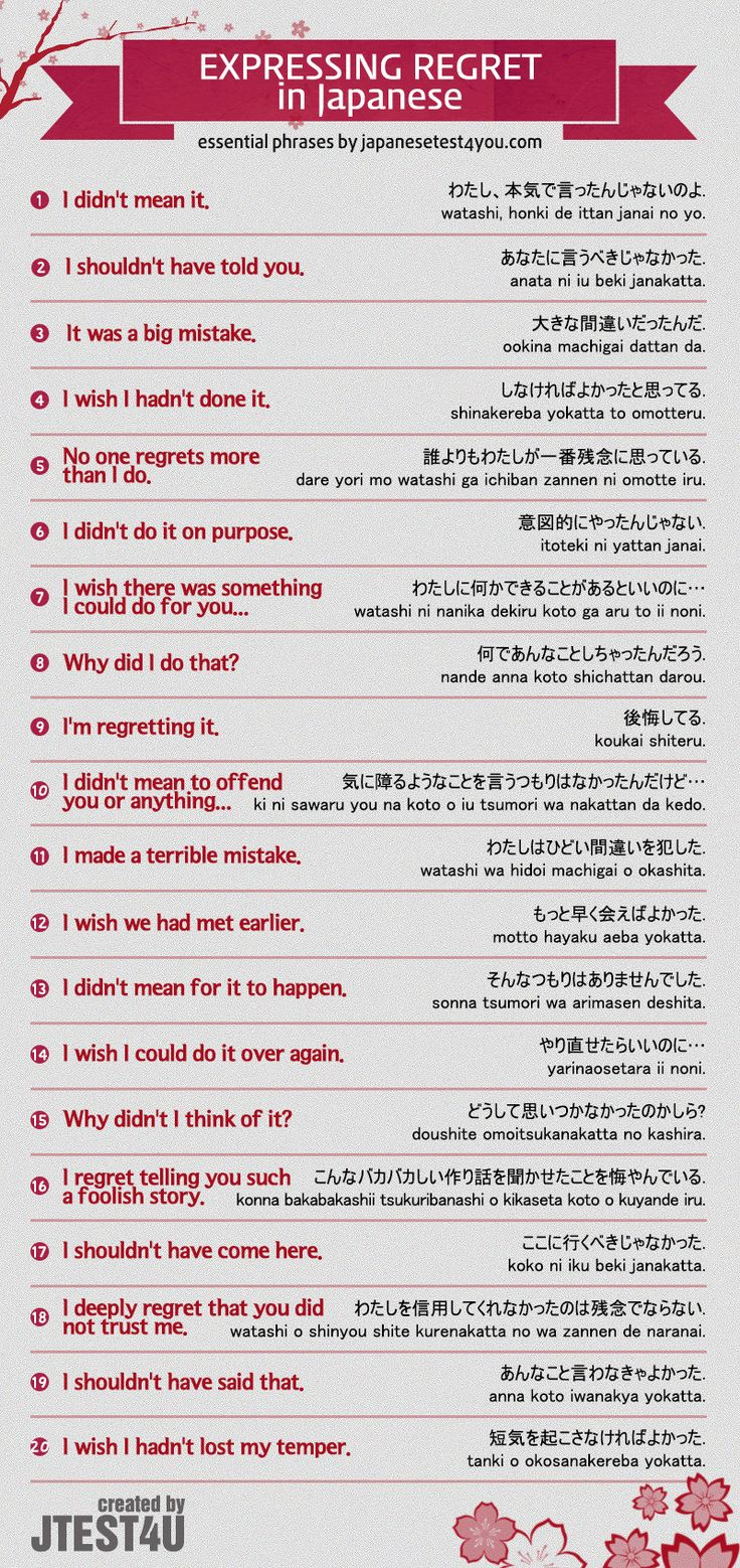 Infographic: expressing regret in Japanese. http://japanesetest4you.com/infographic-express-regret-japanese/