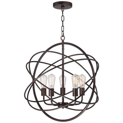 "Ellery 24 3/4"" Wide 5-Light Bronze Sphere Foyer Pendant - #8G444   www.lampsplus.com"