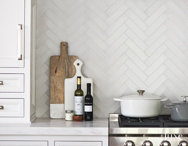 Matte Glass Herringbone Tiles Make For A Beautiful Backsplash #TileTuesday  #InstaLuxe #LuxeNY July · White Kitchen ...