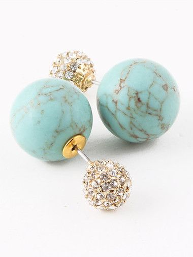 As seen in Life & Style Magazine, be on top of the hottest trend with these Turquoise Stone & Crystal Double-Sided Earrings. A crystal ball acts as a stud in front of the ear, while a larger crackled