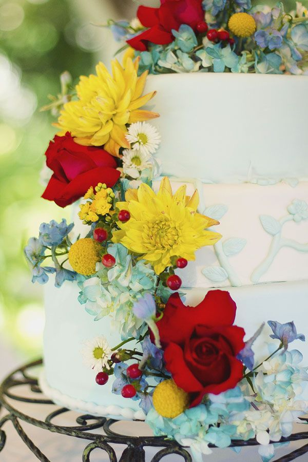 My colors exactly! but with sunflowers to add in the yellow! Turquoise, Red, Yellow And Burlap Wedding Inspiration
