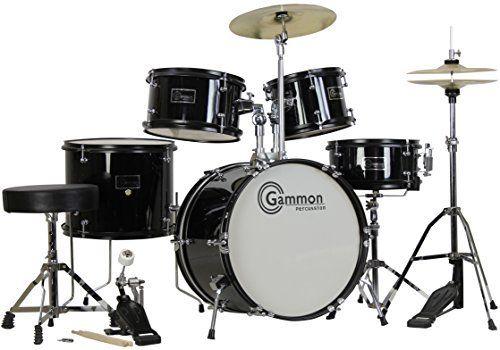 Complete 5-Piece Black Junior Drum Set with Cymbals Stands Sticks Hardware & Stool