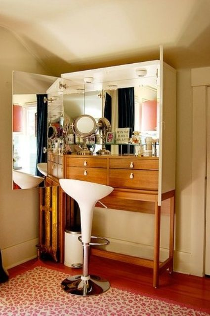 33 Amazing Dressing Table Designs : Dressing Table Designs With White Wall And Glass Sideboard And Carpet And Stool