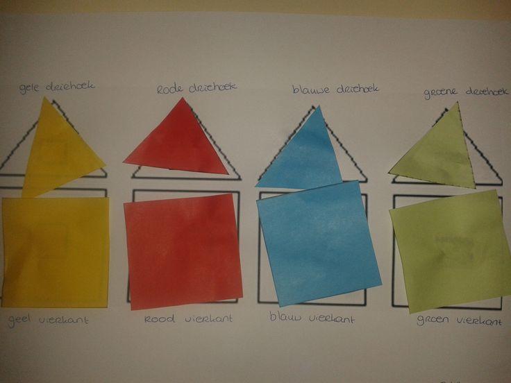 Ik had een papier met daarop vierkantjes met daarboven driehoekjes. In deze vierkanten had ik een hokje met een kleurtje gemaakt. De opdracht was: plak de vierkanten en driehoeken in het goede vakje. Deze is geplakt door een meisje van 2 jaar.
