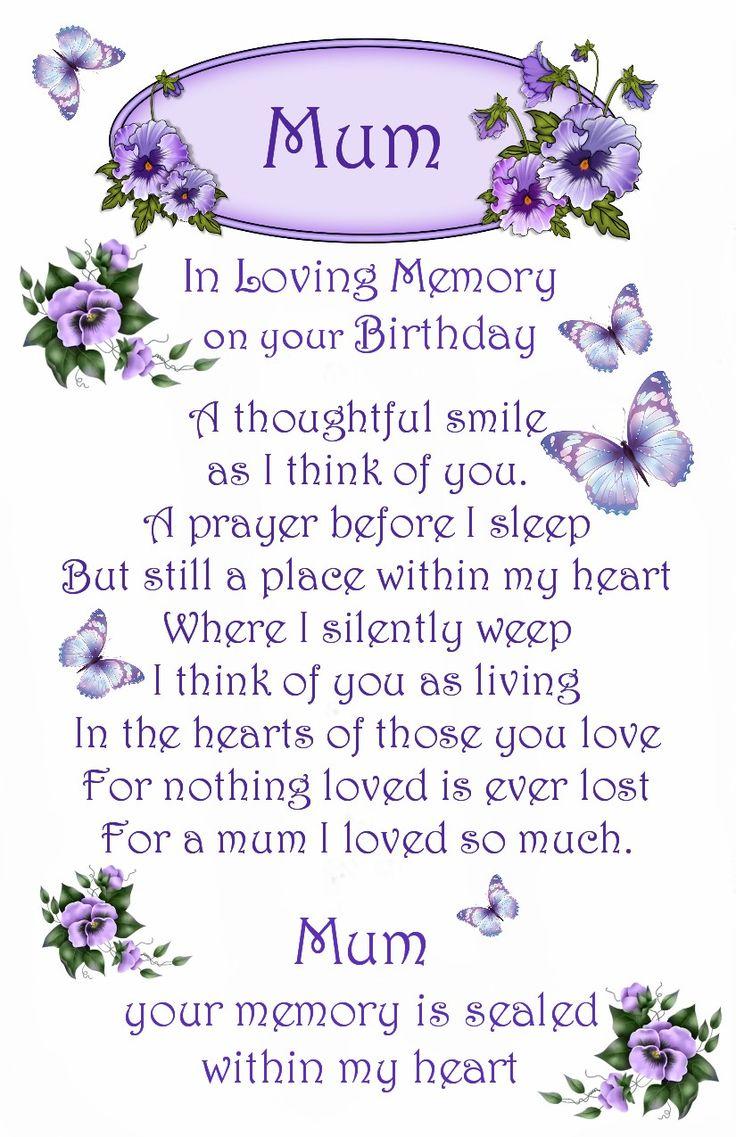 Mum Birthday Memorial Card Mother Sister Birthday