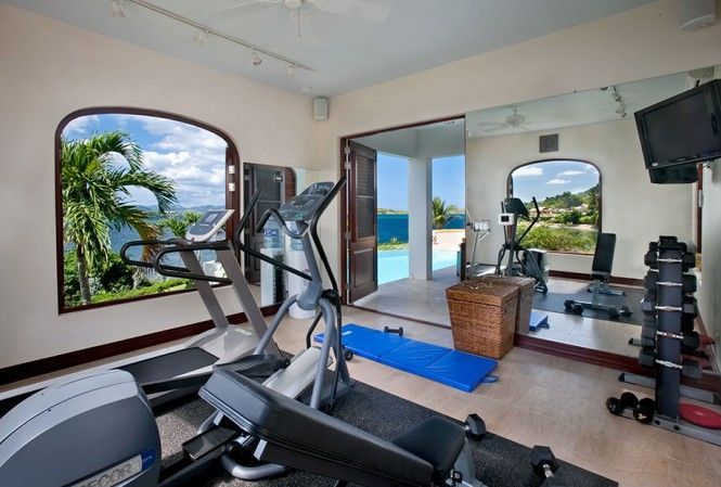 Architecture, Fascinating Home Gym: Amazing Caribbean Villa Design Comes with the Great Idea