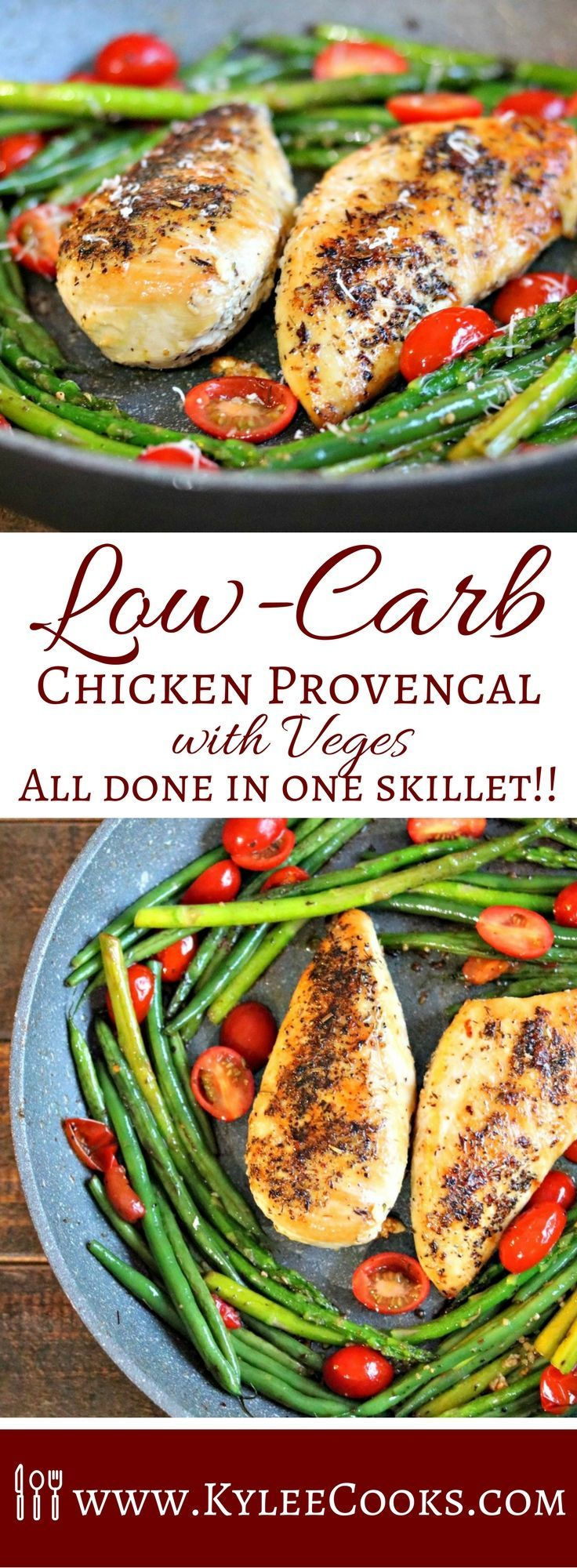 A super fast low carb chicken dinner that is a total weeknight winner! Using just one skillet, dinner is ready in 20 minutes! #lowcarb #chicken #weeknight via @kyleecooks