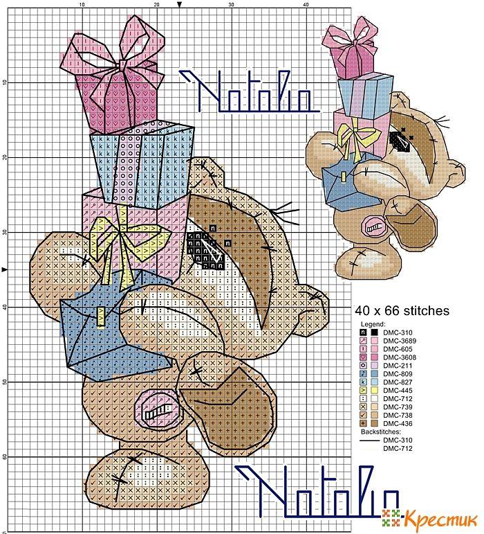 Схемы вышивки крестом мишки