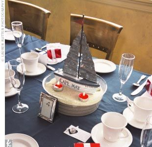 """Reception tables were topped with either an arrangement of flowers, sand, and shells that Kelly's mother made, or a sailboat that read, """"S.S. Speiser."""""""