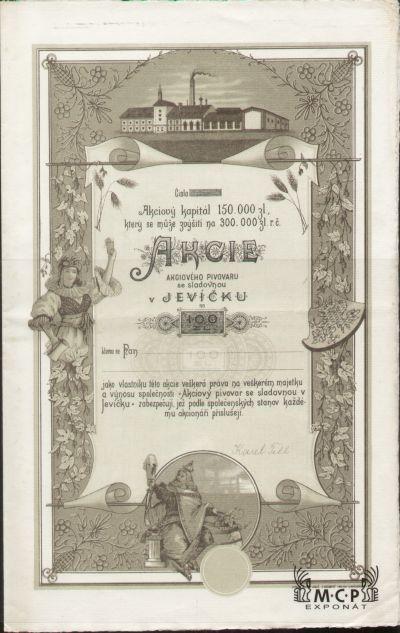 A1764 Muzeum cennych papiru / Akciový pivovar se sladovnou v Jevíčku / Aktienbrauerei mit Malzfabrik in Gewitsch / 100 Zl. bez datumu (ohne Datum) / AZP4CZ027