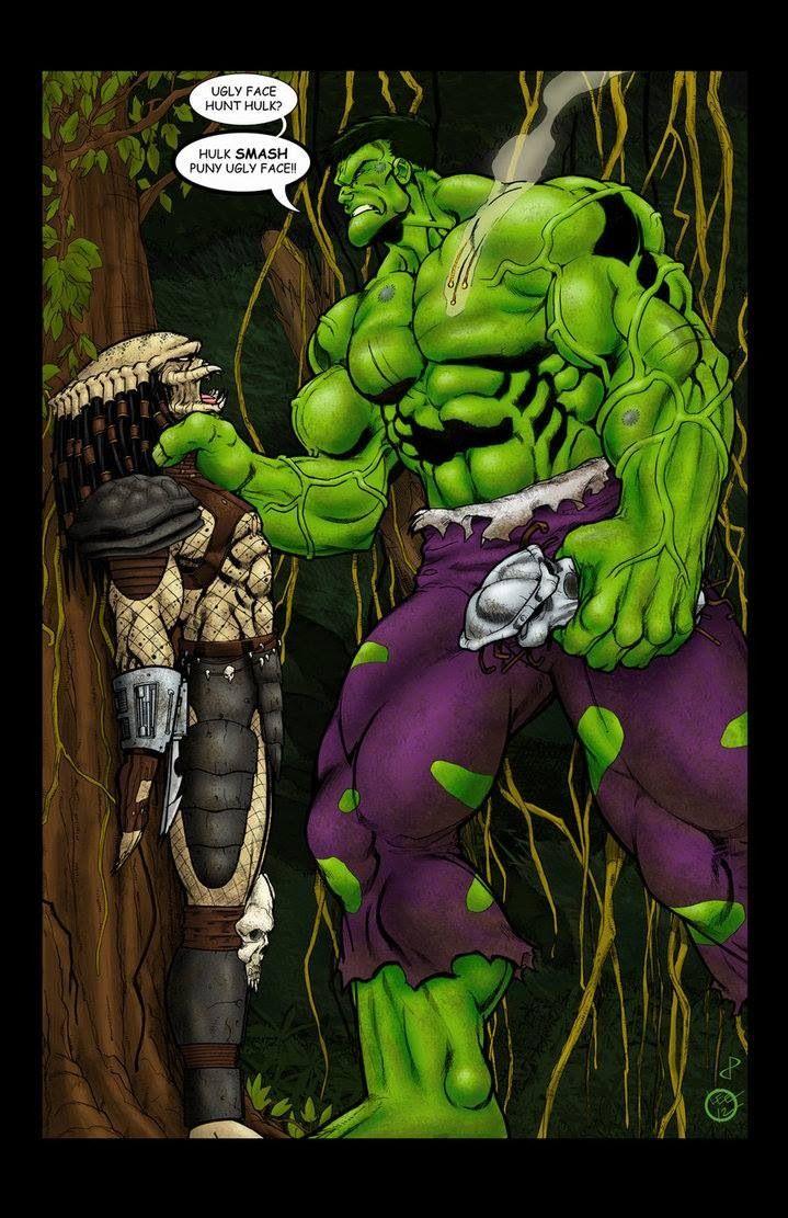 Hulk vs Predator | mashups. Crossovers. Amalgams. Marvel comics. Darkhorse comics. Alein.  Gamma-radiated mutated superhuman.