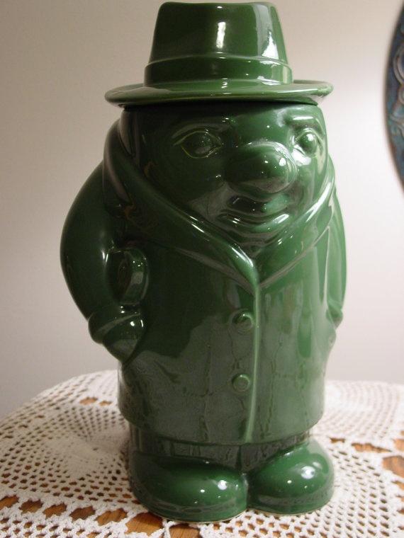 Vintage Ceramic Cookie Jar Shaped Like A Rotund 1930s By