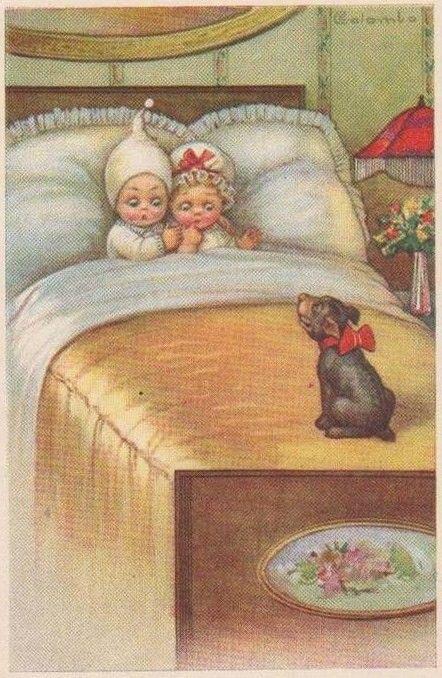 Днем, винтажные картинки спокойной ночи дети в сорочках