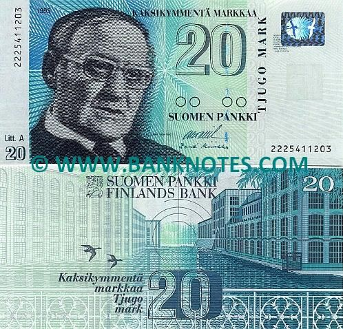 Finland - 20 Markka - 1993 - There is a man on it who looks very serious. There is bright blues and greens. There are also bird on it and buildings. These must be important to them.