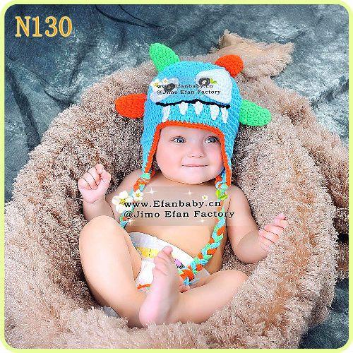 newborn monster costume   Crochet Monster Hat Blue Green Orange Halloween Costume Newborn ...