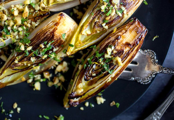 The French serve seared endive as a side, but I've been enjoying this dish as the main event for lunch, with a nice slice of blue cheese or Roquefort accompanying it on the plate.