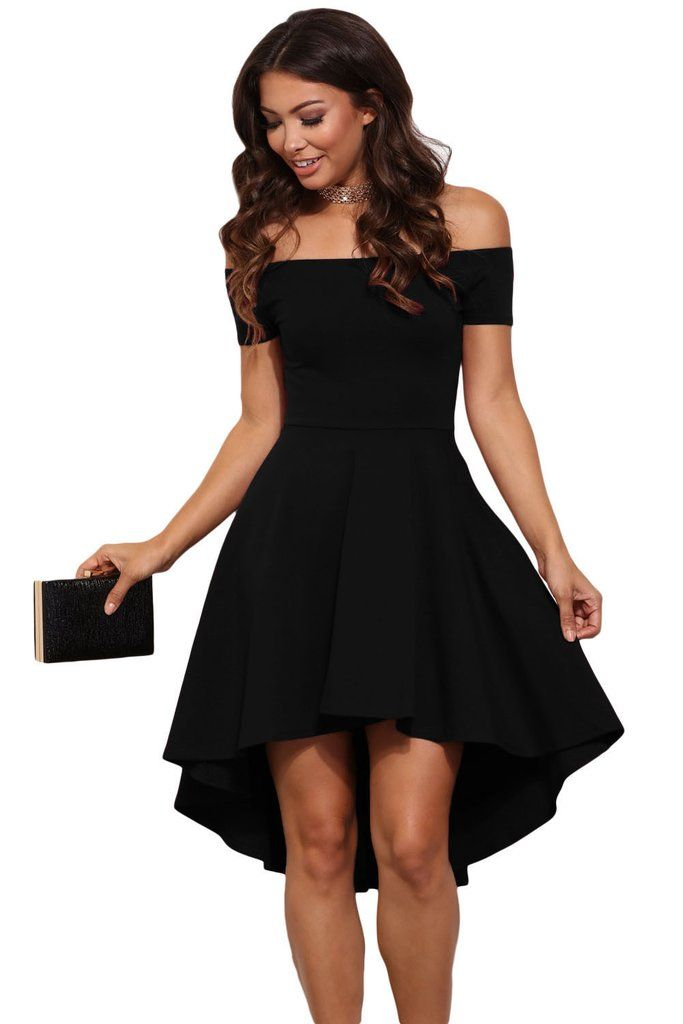 Black Off Shoulder Cocktail Party Skater Dress 2