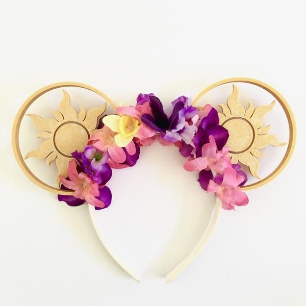 Tangled Sun Mouse Ears with Flower Crown – Aloha Ears Design