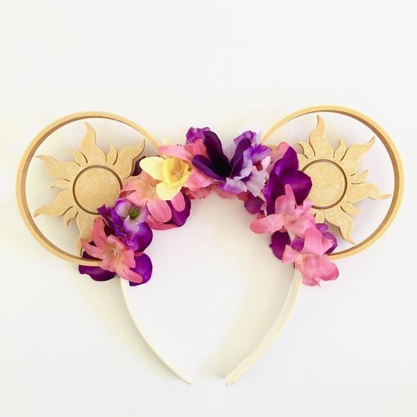 Tangled Sun Mouse Ears with Flower Crown – Aloha Ears Design
