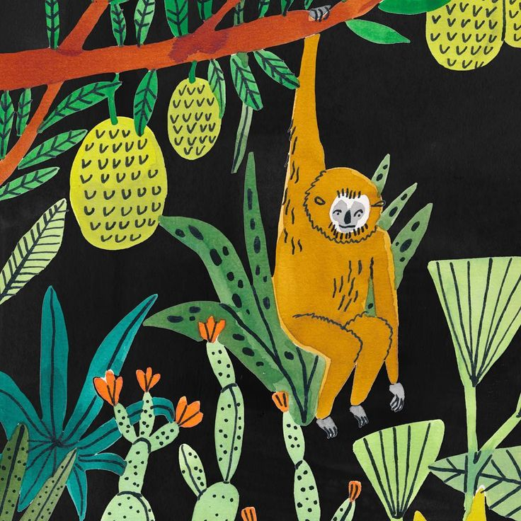 Crop of an illustration with gibbons & durian trees  #bodiljane #exoticlandscape #durian #gibbon