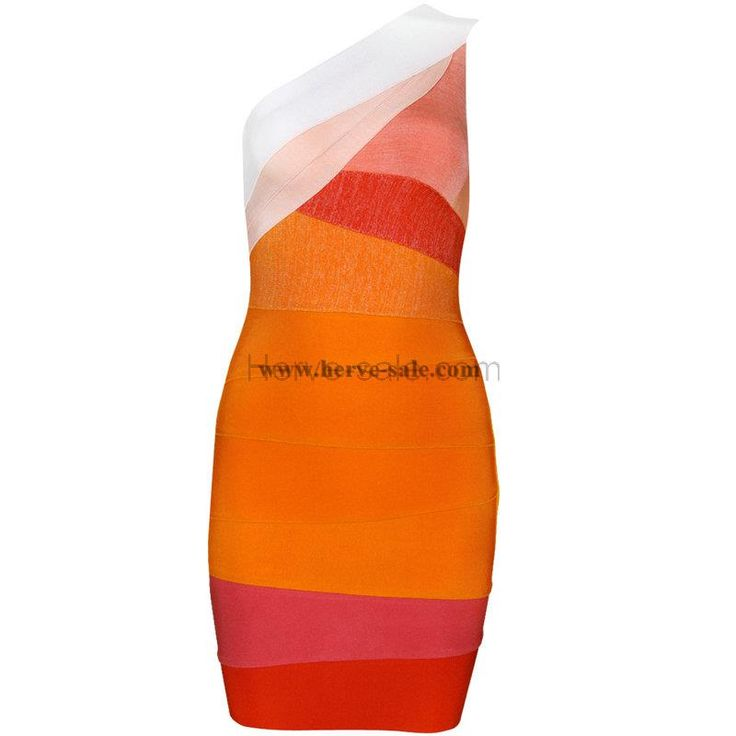 Herve Leger Colorful One Shoulder Sexy Bandage Dress H702