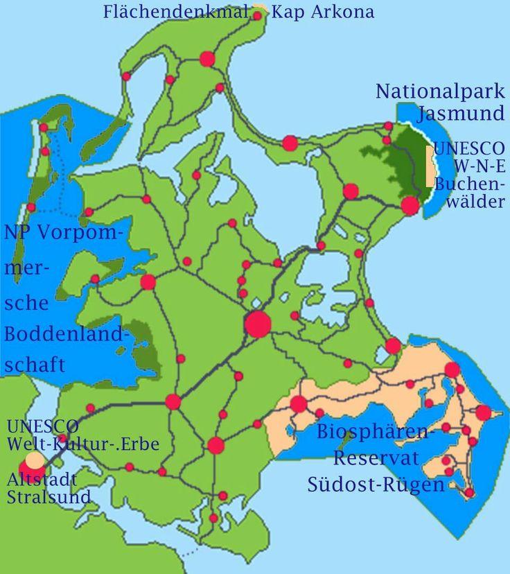 Karte: Schutzgebiete Nationalpark Jasmund Insel Rügen