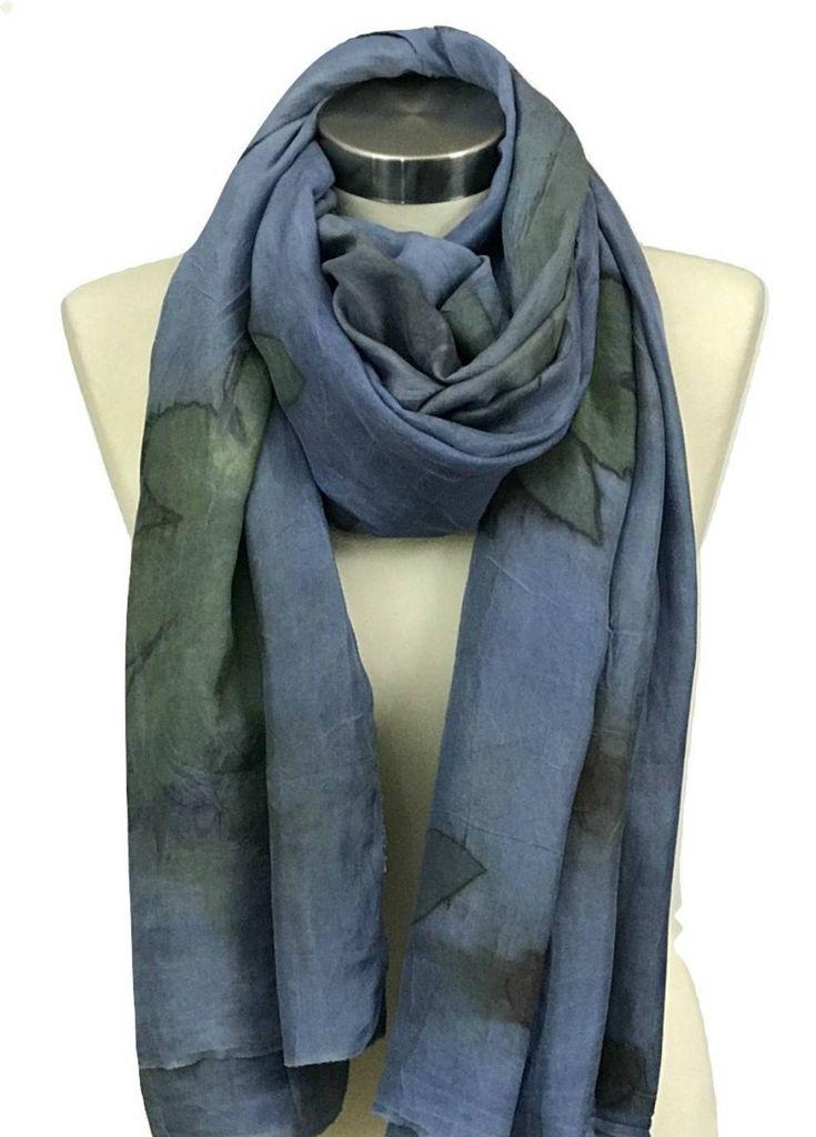 Blue Silk Scarf, Indigo Scarf, Blue Scarf, Hand Made Scarf, Eco Print, Silk Shawl, Scarves and Wraps, Womens Scarves, Silk Scarf, Art Scarf by rachelsilkscarves on Etsy