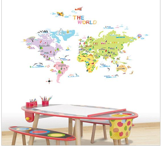 "Wall Point Art Decor Mural Sticker : The World Map, trip, Quick and easy to apply & Remove sticker 27"" wide by 19.68"" tall (70cm x 50 cm)"