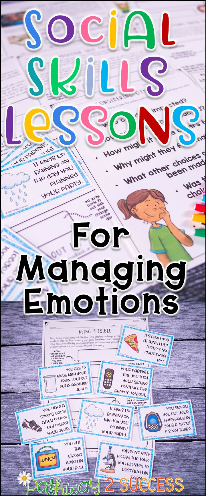 Teach social skills lessons focus on how to manage emotions to kids and young adults. Resources include detailed educator lessons and 50 activities! Lessons focus on emotional awareness, making positive choices, understanding consequences, expressing yourself, dealing with disappointments, adapting to change, dealing with anger, and much more.