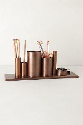 modern bronze desk set