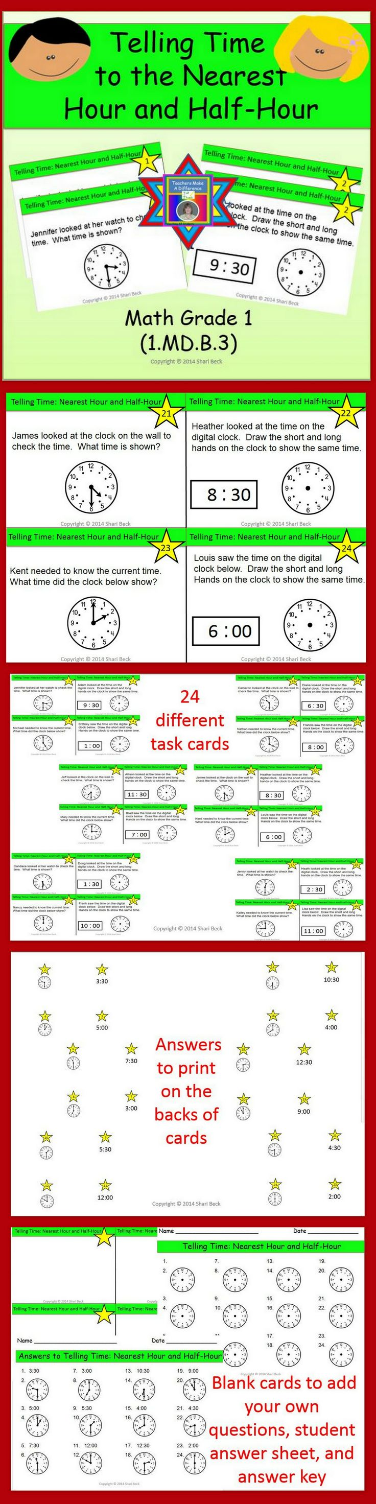 15 best time worksheets images on pinterest printable worksheets telling time task cards hour and half hour 1b3 robcynllc Images