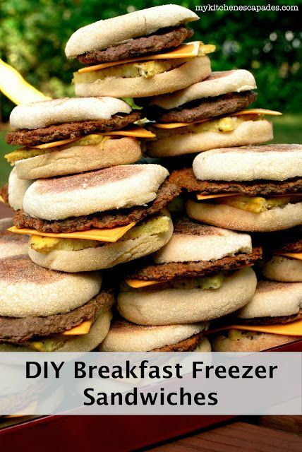 24 Freezer Breakfast Sandwiches for about the same cost as one box from the store.  So simple to make!