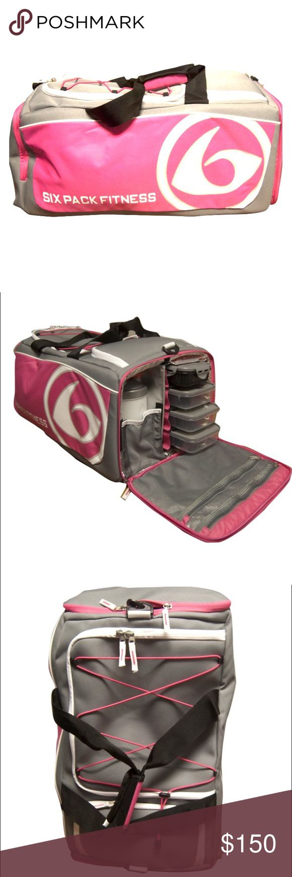 Pink & Grey Prodigy 300 Varsity Duffle 6 Pack Bag! Used once! Perfect Condition. Does not come with plastic food containers or ice packs. Deep main compartment holds clothing, workout gear & personal items, organizational pocket for smaller items. Zippered mesh door pocket.  Exterior bungee cord keeps outerwear secure and accessible, Ventilated side compartment with divider to store damp workout clothing  *shoe compartment  *External pocket  *Detachable shoulder shoulder or across-body…
