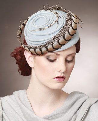 lor14 Ice-blue felt cap with Reeves pheasant feather trim by Judy Bentinck, London Milliner