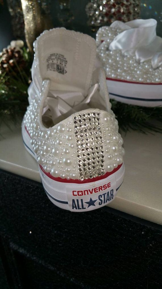 Wedding style white converse made to order