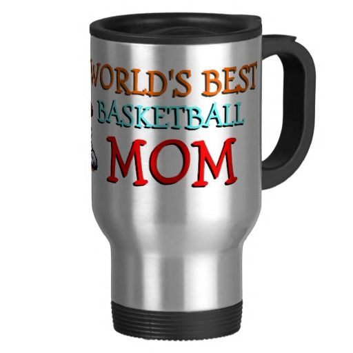 """Funny travel mug for coffee, tea, milk, or juice. With image of hoop, ball and shoes, and """"My Kid's Biggest Basketball Fan"""" quote text. Cute and fun mom's birthday present, Mother's Day or Christmas gift. Cool and original drink ware for the worlds greatest and best sport mom. Original and sporty travelmug to sip your favorite hot beverage from while at home, on the road in traffic, relaxing on vacation or being busy at work or at the office. Show off your kids favorite hobby... basketball."""
