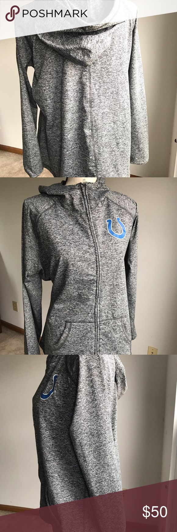 """NFL Colts Womens Sweatshirt Hooded XXL Womens Colts NFL Hooded Sweatshirt with zip front  Siz XXL  • 24"""" across chest • 25 """" across bottom hemline • 27 """" from back of neck to bottom hem  Gently Used with no flaws NFL Jackets & Coats"""