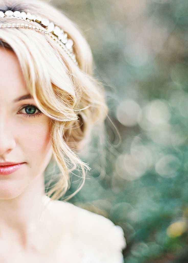 Jeweled Bridal Headpiece with Loose Curls | Marissa Lambert Photography | Pastel Watercolor Spring Wedding in Lilac and Sunshine