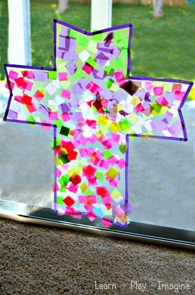 Simple cross suncatcher art project for kids