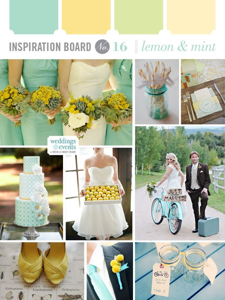 Wedding color pallet mint and lemon yellow mint green lime green pale