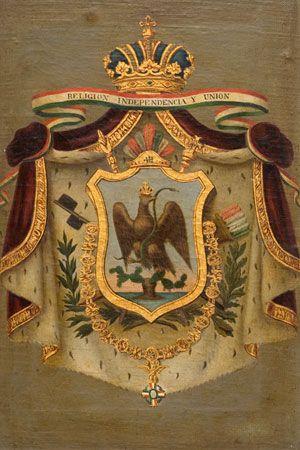 Escudo de armas de Agustín de Iturbide (primer imperio) Autor desconocido Siglo XIX Óleo sobre tela 54 x 41 cm. Colección Museo de Historia Mexicana