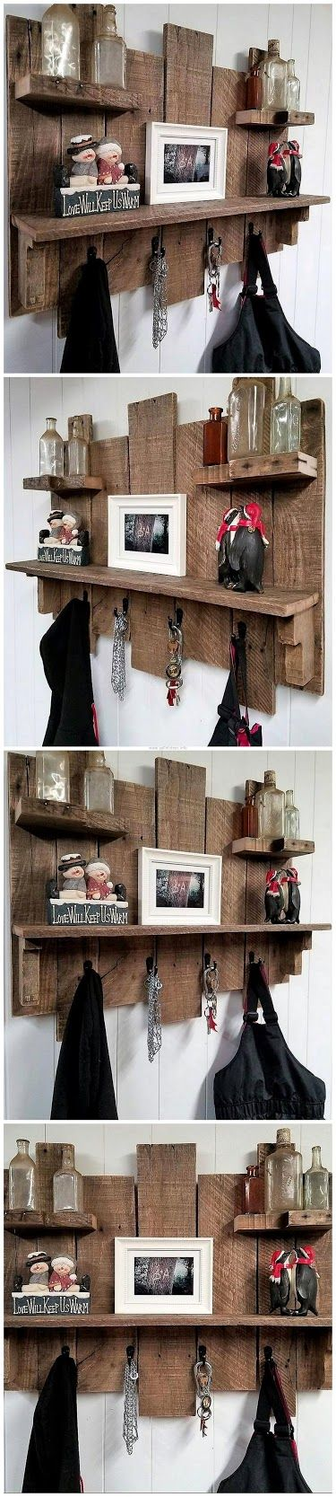 Pallets Rustic Coat Key Rack Combo Piece With Shelves