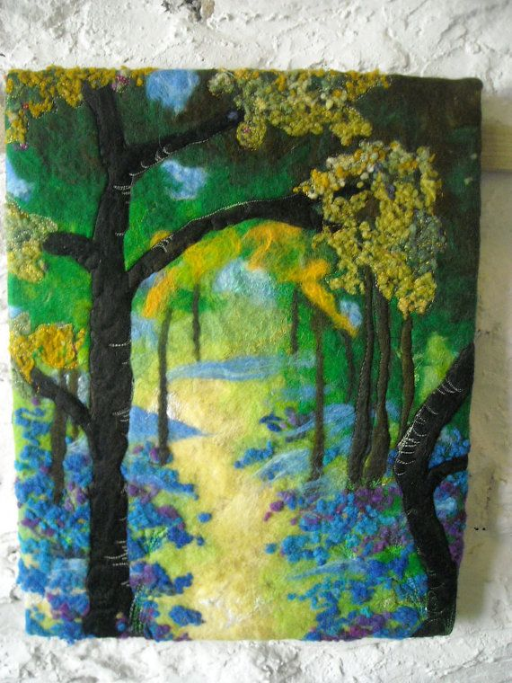 art ,woodland bluebells, wet felted fiber art. $105,00, via Etsy.