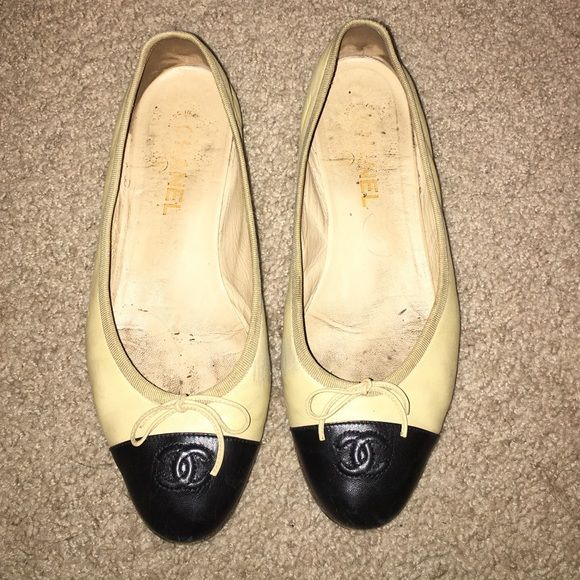 Chanel flats Beige and black classic Chanel flat. Signs of wear. CHANEL Shoes Flats & Loafers