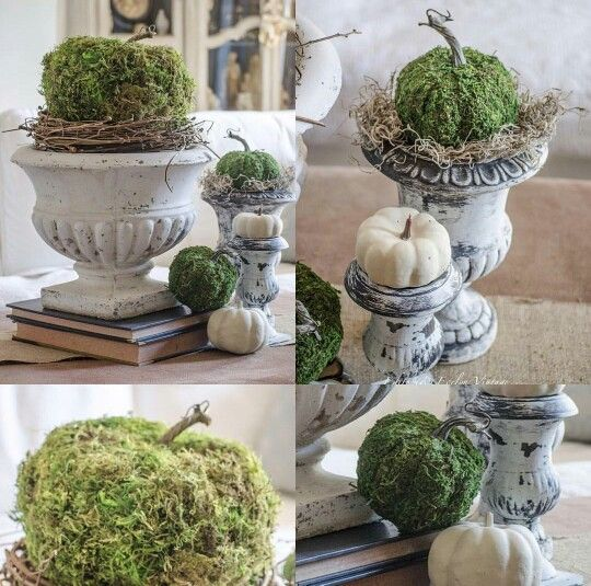 DIY moss covered pumpkins from Edith and Evelyn Vintage: