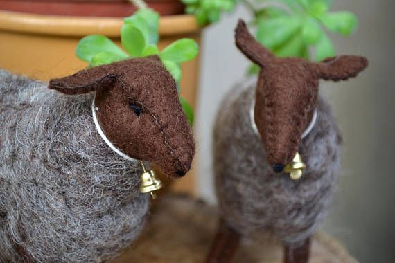 Felt sheep - waldorf sheep - lamb - brown and grey sheep - waldorf toy - season table - Easter