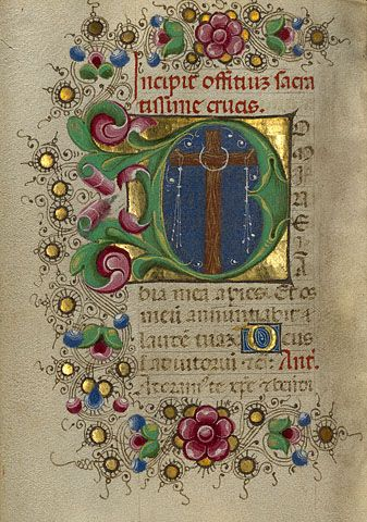 Gualenghi-d'Este Hours   Initial D: The Cross        Taddeo Crivelli  Italian, Ferrara, about 1469  Tempera colors, gold paint, and gold leaf on parchment  4 1/4 x 3 1/8 in.  MS. LUDWIG IX 13, FOL. 102V